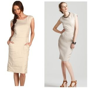 "Theory Dress Tan Linen ""Kylis Urbanite"" Size 8"